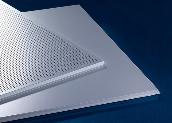 China Waterpfoof Suspended False  Waterproof Ceiling Tiles  595x595MM Perforated Or Non-Perforated factory